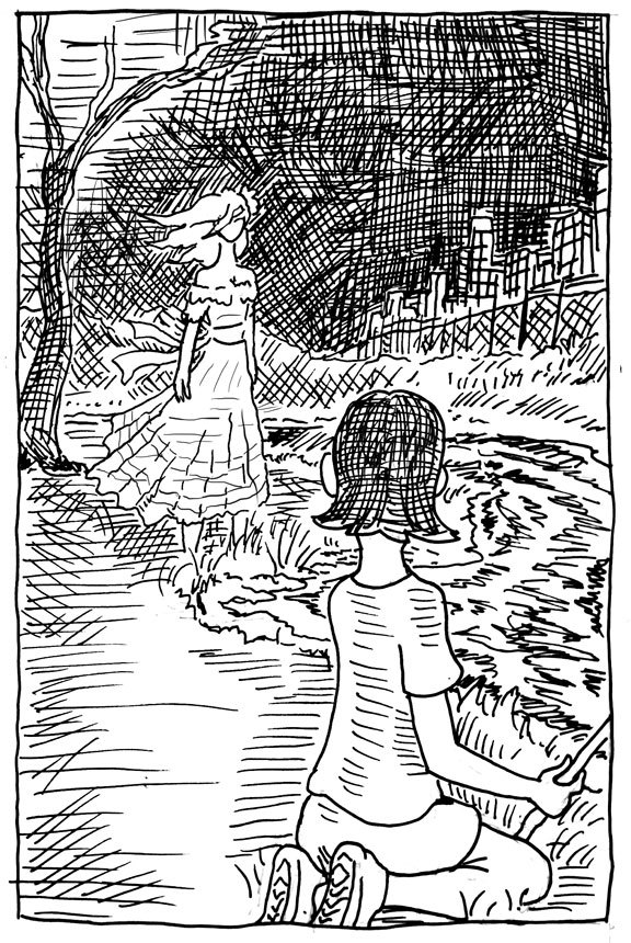 wpmorse la llorona ghost river child fence night sunset city pen and ink  illustration inktober sketch challeng