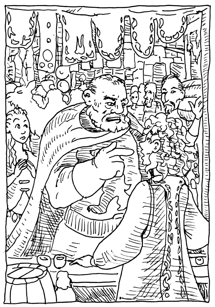 In this Game of Thrones Illustration, Ser Jorah Mormont confront a wine seller in Vaes Dothrak's Western Market over some suspicious wine. wpmorse pen and ink