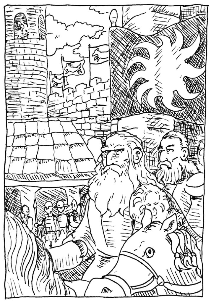 In today's Game of Thrones Illustration, Bran watches the latest of the Starks' banners arrive led by Lord Rickhard Karstark. wpmorse pen and ink winterfell