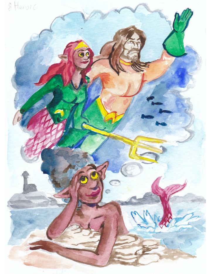 In today's Mermay watercolor, Heroic, a fangirl fantasizes about being with Aquaman. mermaid Mera Jason Momoa