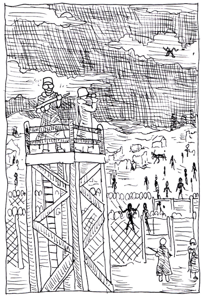 For today's Inktober drawing a lone outpost remains at the midst of the zombie apocalypse.  pen and ink, sketch challenge, halloween